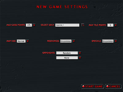 New Game Settings Screen