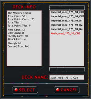 Deck Info Screen